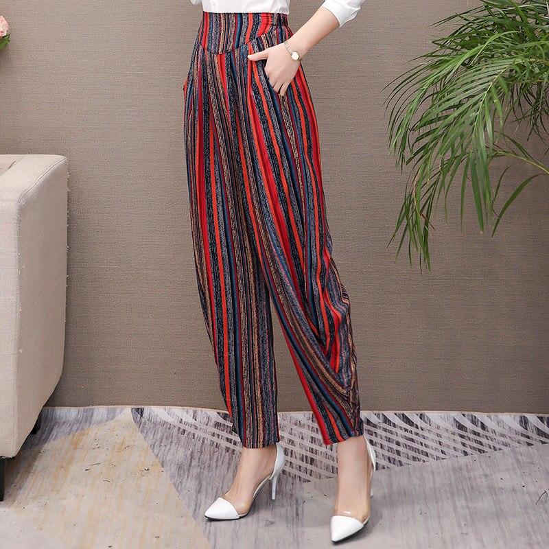 Women Summer Pants 2019 Women Korean Vintage Striped Print High Waist Pants Overiszed Loose Plaid Pants Elegant Summer Trousers