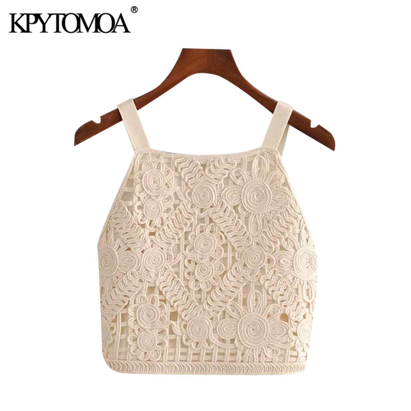 KPYTOMOA Women 2020 Fashion Embroidered Cropped Blouses Vintage Backless Smocked Detail Straps Female Shirts Blusas Chic Tops