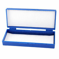 Blue Plastic Rectangle Shape Hold 50 Microslide Slide Microscope Box|Educational Equipment| |  -