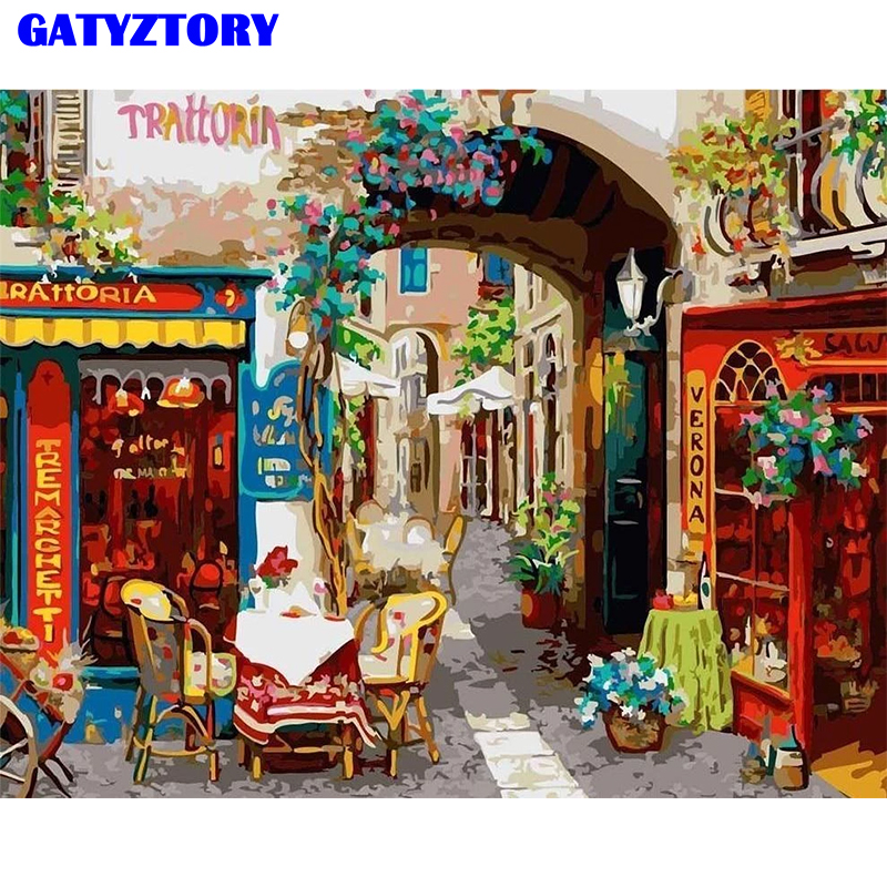 GATYZTORY Frame DIY Oil Painting Landscape Street Painting By Numbers Kits Acrylic Canvas Painting Wall Art For Home Decor