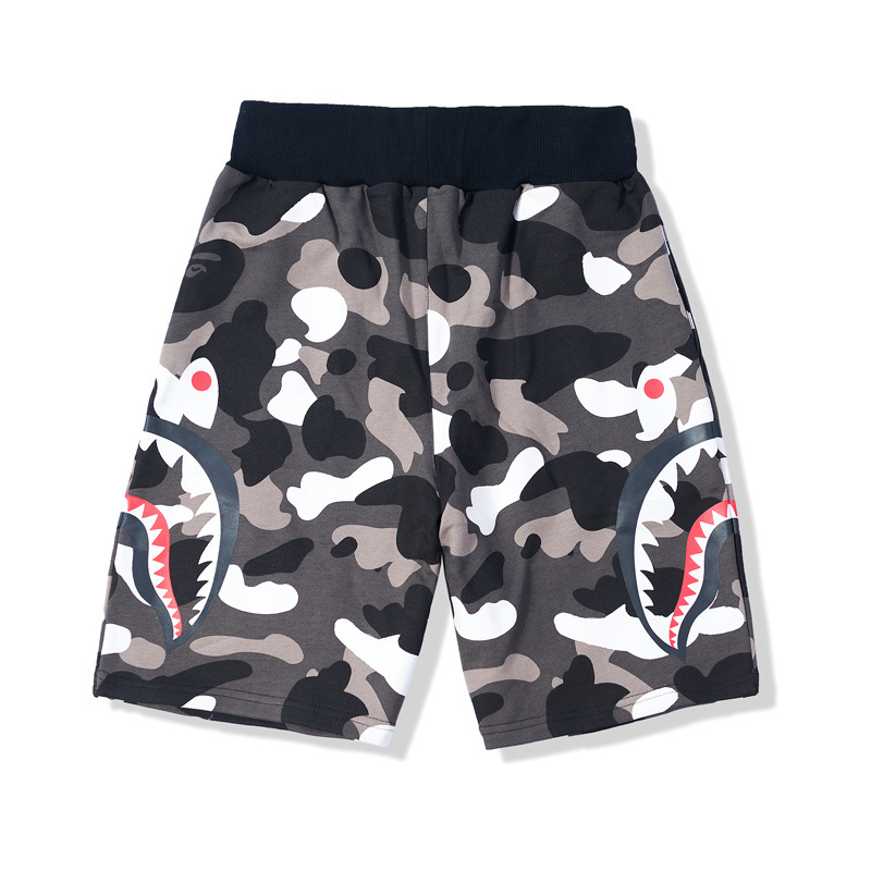 Two-color 2019 Cool Celebrity Celebrity Style Popular Brand Japanese-style Shark Printed Camouflage Night Light Shorts Men Pure