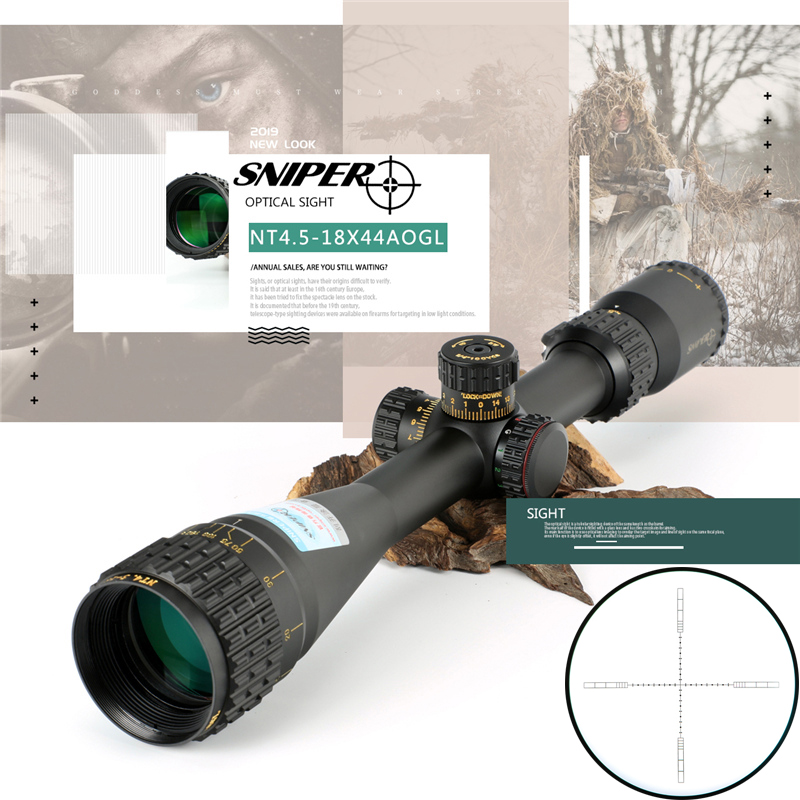 SNIPER NT 4.5-18X44 AOGL Riflescope Tactical Optical Sight Full Size Mil-Dot RGB Wire Reticle Hunting Optics Rifle Red Dot Sight