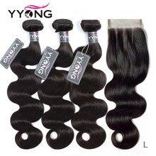 Yyong Dei Capelli 3 Bundle Con Chiusura Dell'onda Del Corpo Peruviana Dei Capelli Bundle Con Chiusura 4X4 Pacchi Dei Capelli Umani Con Chiusura Remy capelli