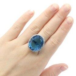 25x21 мм нежный четкий вырез Ослепительная создан большой овальной вставкой из Лондон Голубой топаз для Для женщин Серебряные кольца Прямая д...