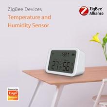 Tuya Zigbee-Sensor inteligente de temperatura y humedad, notificación en tiempo Real de temperatura, funciona con la aplicación Tuya, Sensor de vida inteligente