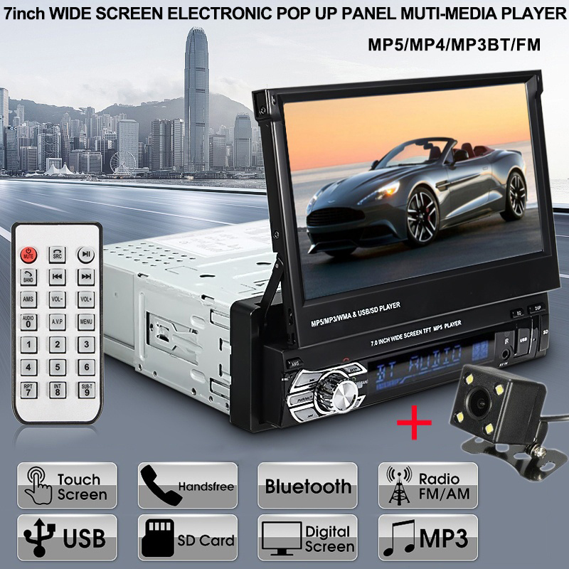 Car Radio MP5 player 9601G 1DIN Autoradio 7 HD Retractable Touch Screen Car Stereo MP5 Player SD FM USB with Rear View Camera image