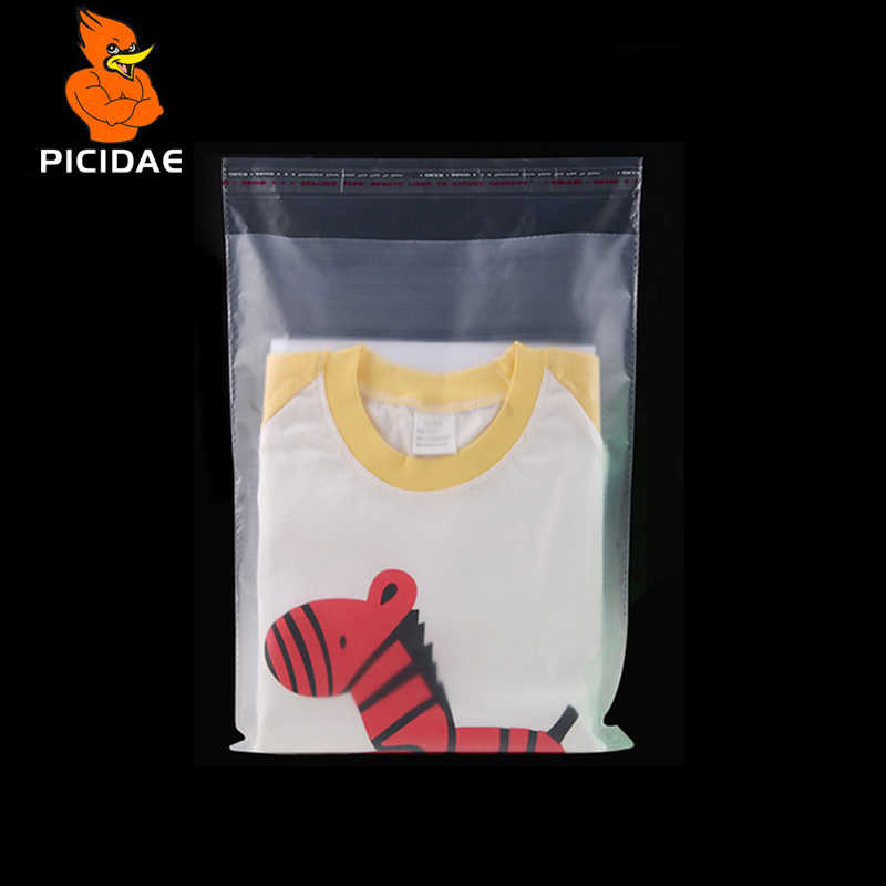 0.07mm matte translucent frosted cellophane self adhesive seal plastic clothing packaging bag baking food garment package pouch
