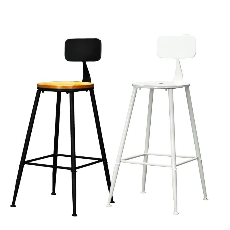Nordic Wrought Iron Bar Chair Bar Ktv Office Front Desk Special Chair Creative High Bar Chair Simple Leather Art Bar Chair|  - title=