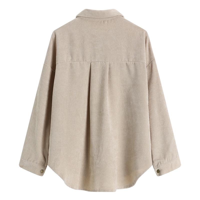 [EAM] Loose Fit Apricot Corduroy Big Size Jacket New Lapel Long Sleeve Women Coat Fashion Tide Spring Autumn 2020 1DA744 2