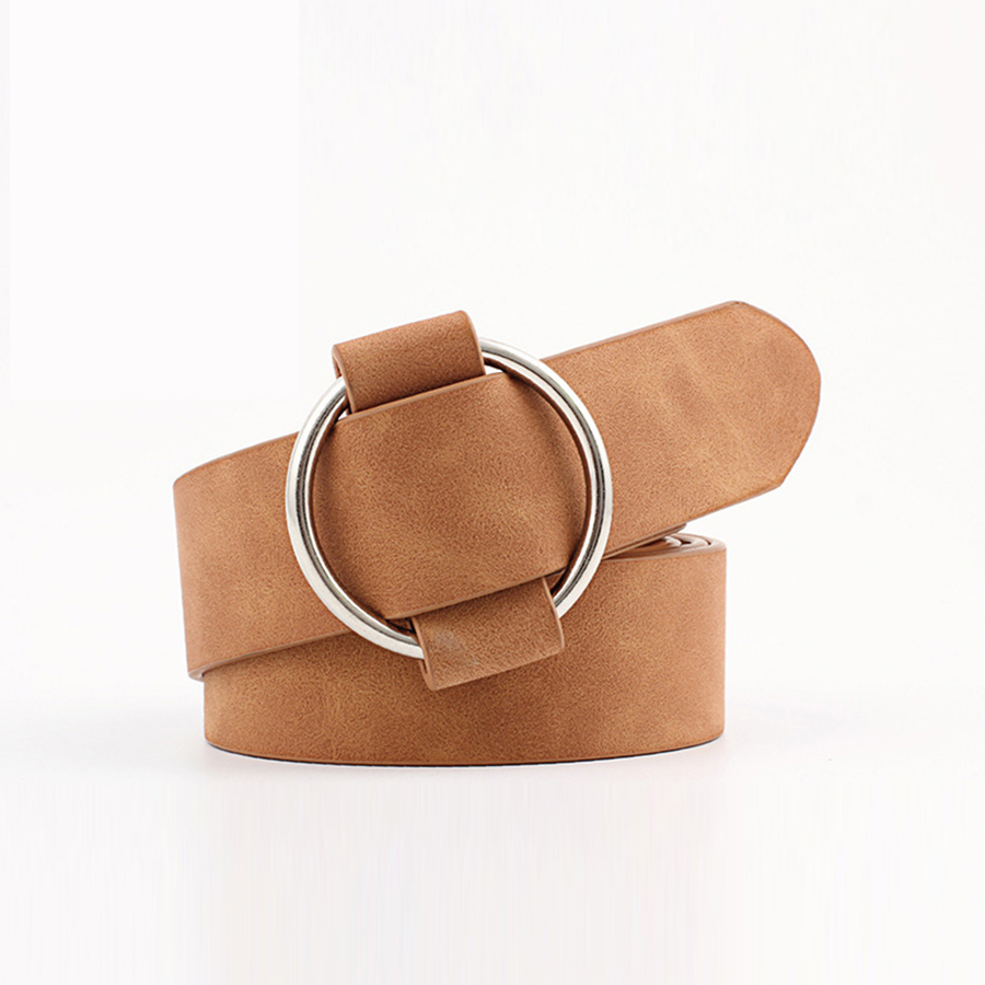 2020 Solid Faux Leather Ring Belts Women Casual Circle Buckle Adjustable Waist Simple Belts Female Vintage Practical for Jeans(China)