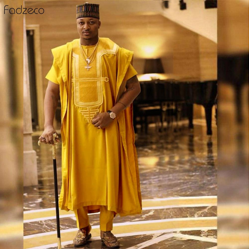 Fadzeco Agbada 2019 Men's African Embroidery Dashiki Yellow Doudou Tops Short Sleeve Pant 3PCS Plus Size Mens Clothes Robe Bazin