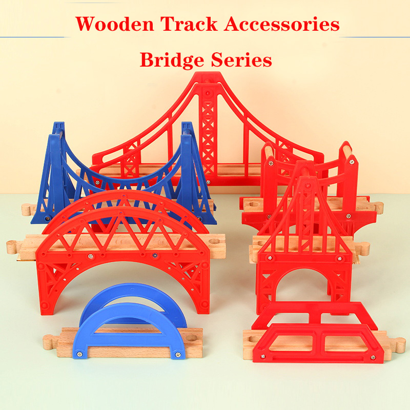 Wooden Track Railway Bridge Accessories Educational Toys Tunnel Cross Bridge Compatible All Wood Track Train T Homas Biro