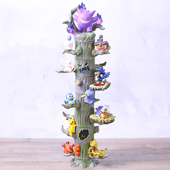 Monster Forest Gengar Mew Ditto Cubone Litwick Pumpkaboo Paras Abra Piplup Shuppet Murkrow Mini Collectible Figures 8pcs/set image