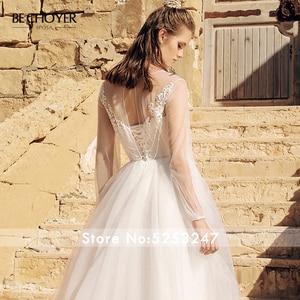 Image 5 - BECHOYER Boho suknia ślubna z aplikacjami 2020 Boho z długim rękawem line Lace up Train Illusion h quality Bride Vestido de Noiva AB39