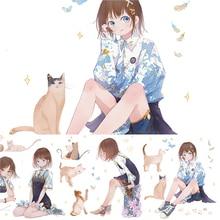 9.5cmx3M Super Wide Cute Girl And Her Cat Journal Notebook Kawaii Washi Tape Material Sticker Character