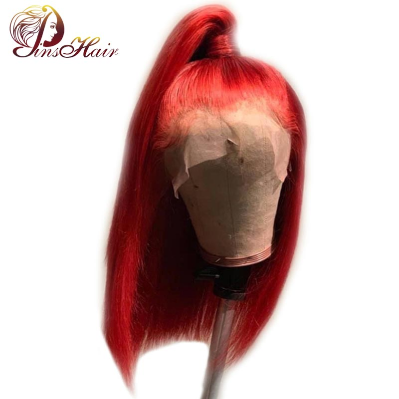 Brazilian Straight Red Bob Wigs Lace Frontal Human Hair Wigs Green Colored Pinshair Nonremy Pre Plucked Hairline With Baby Hair