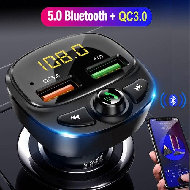 QC 3.0 çift USB şarj araba Bluetooth 5.0 Fm verici MP3 çalar araç kiti TF kart araba hızlı şarj adaptörü Handsfree çağrı