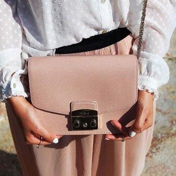 Bolso solapa con cadena de un solo hombro diagonal de marca de lujo 2019 cuero clásico candy-colored bolso femenino