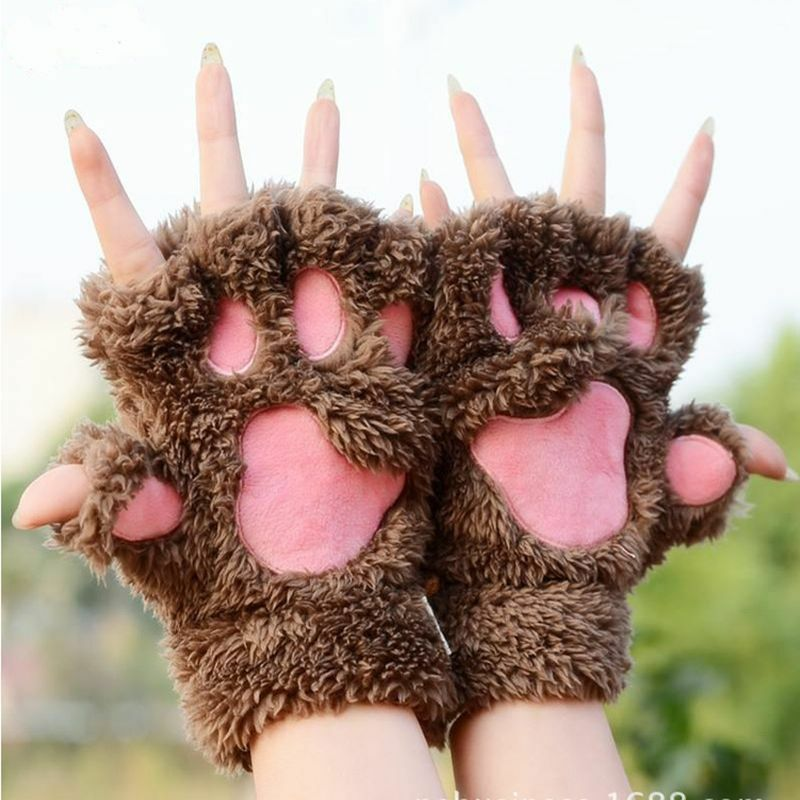 Winter Women Cute Cat Claw Paw Plush Mittens Short Fingerless Gloves Half Finger Birthday Surprise Gift Girlfriend Lover Present