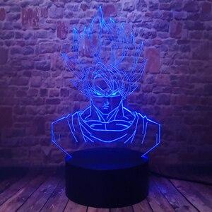Image 5 - Dragon Ball Super Saiyan God Goku Action Figures 3D Illusion Table Lamp 7 Color Changing Night Light for Boys Child Kids Baby