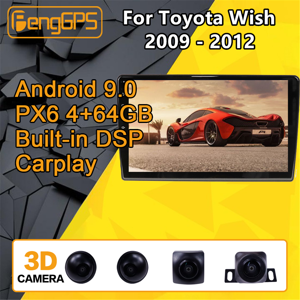 For Toyota Wish 2009 2010 2011 2012 <font><b>Car</b></font> multimedia player Stereo <font><b>Android</b></font> PX6 Radio <font><b>Audio</b></font> GPS Navigation Head unit HD 360 Camera image