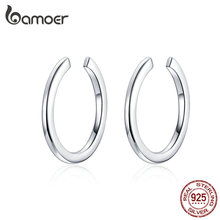 bamoer Minimalist Ear Cuff 925 Sterling Silver Simple Circle Clip Earrings for Women and Men Fashion Jewelry SCE647