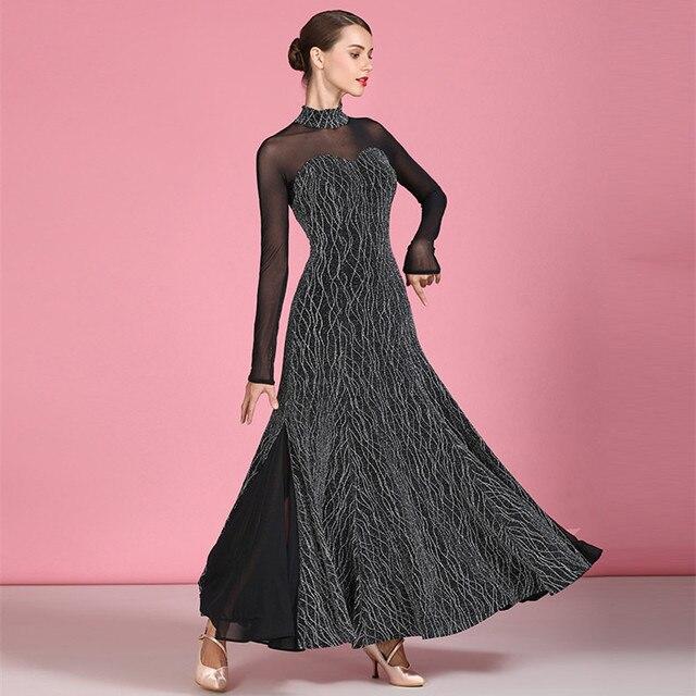 ballroom dance dresses for ballroom dancing viennese waltz dress rumba back perspective splicing long sleeve dress for dancing 1