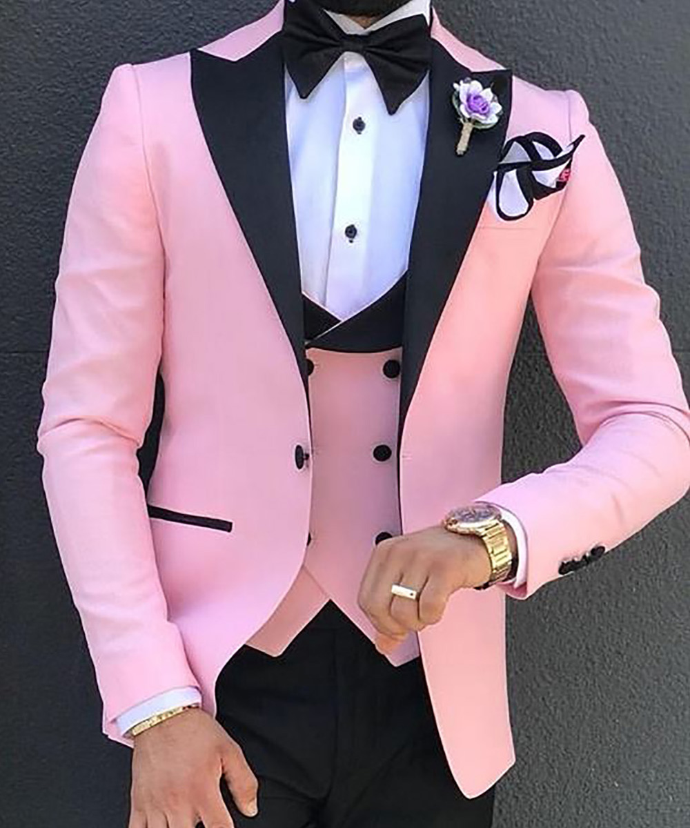 Men's 3 Pieces Suit Formal Slim Fit Notched Lapel Solid Tuxedos Groomman For Wedding Pink Champagne White(Blazer+Vest+Pants)