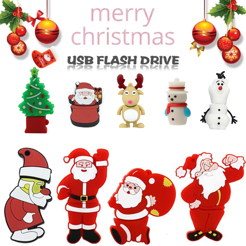 USB Flash Drive 128gb Full Range Of Christmas Cartoon Characters 4GB 8GB Pendrive 16GB 32GB 64GB Creative Pen Drive Memory Stick