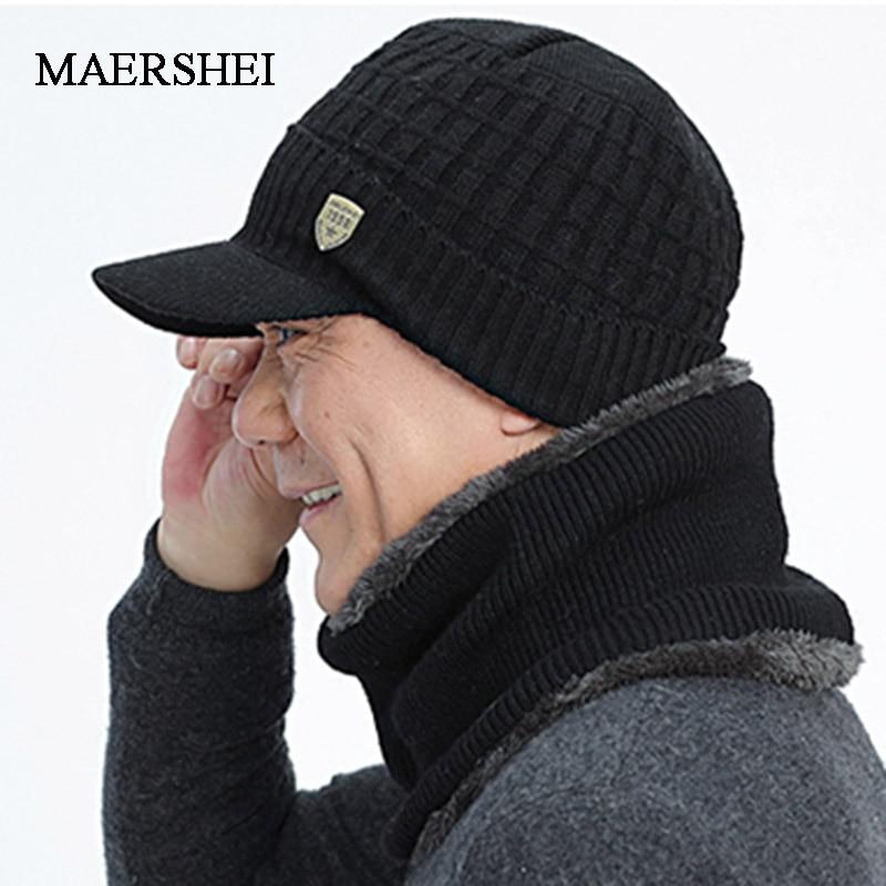 Winter Hat Scarf Skullies Beanies For Men Knitted Hat Women Mask Thick Balaclava Earflap Wool Bonnet Male Beanie Hats Cap