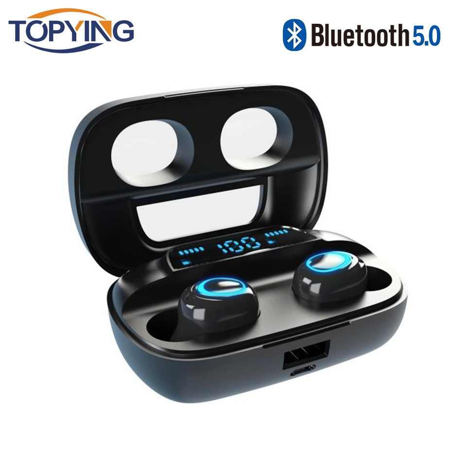 TWS אמיתי אלחוטי Bluetooth אוזניות סטריאו בס Bluetooth 5.0 עם מיקרופון דיבורית מיני אוזניות טביעת אצבע מגע