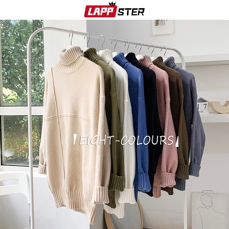 LAPPSTER Men Oversize Korean Cotton Turtleneck Sweater 2019 Solid Eight Colorful Sweater Pullover Sweater Women Harajuku Clothes