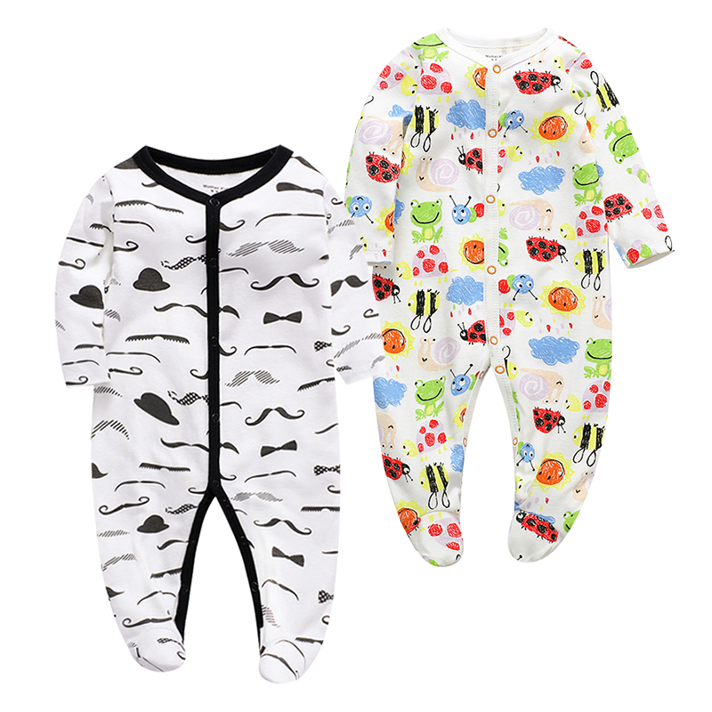 2 pieces lot Baby Boy Girl Rompers Original Cotton autumn Comfortable Pajamas Animal Christmas Coverall baby clothing sets in Rompers from Mother Kids