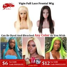 Ali queen волосы девственные бразильские прямые полный парик шнурка 150% плотность натуральный цвет& блонд 613 цвет прямые волосы человеческие волосы парики