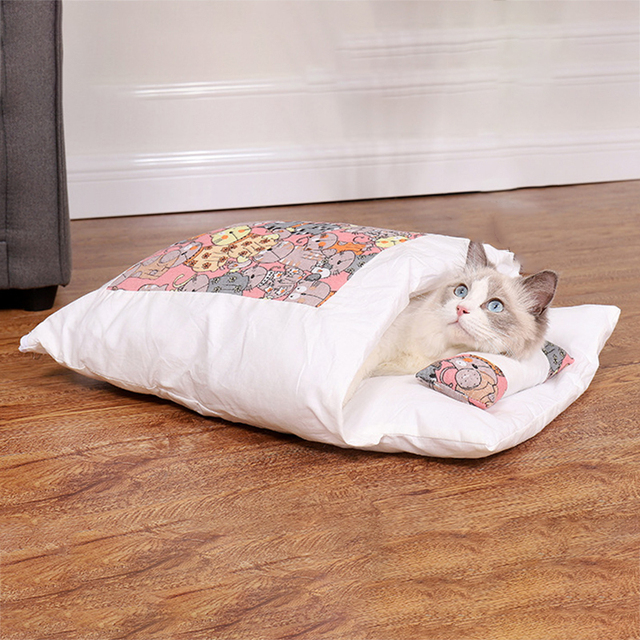 Removable Dog Cat Bed Cat Sleeping Bag Sofas Mat Winter Warm Cat House Small Pet Bed Puppy Kennel Nest Cushion Pet Products 3