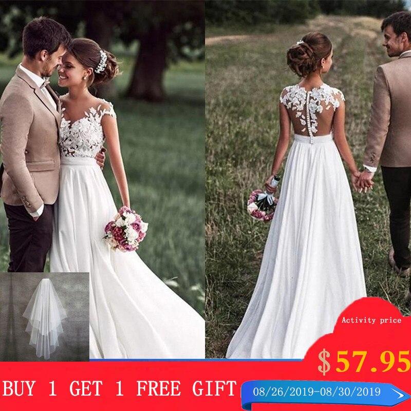 SoDigne Beach dentelle Appliques robe de mariée nouveau Cap-manches fente boutons latéraux blanc/ivoire robes de mariée 2019