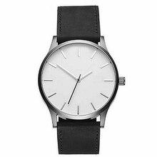2018 Fashion Mens Watch No Logo Watches Leather Strap Quartz Wrist Military Sport relogio masculino