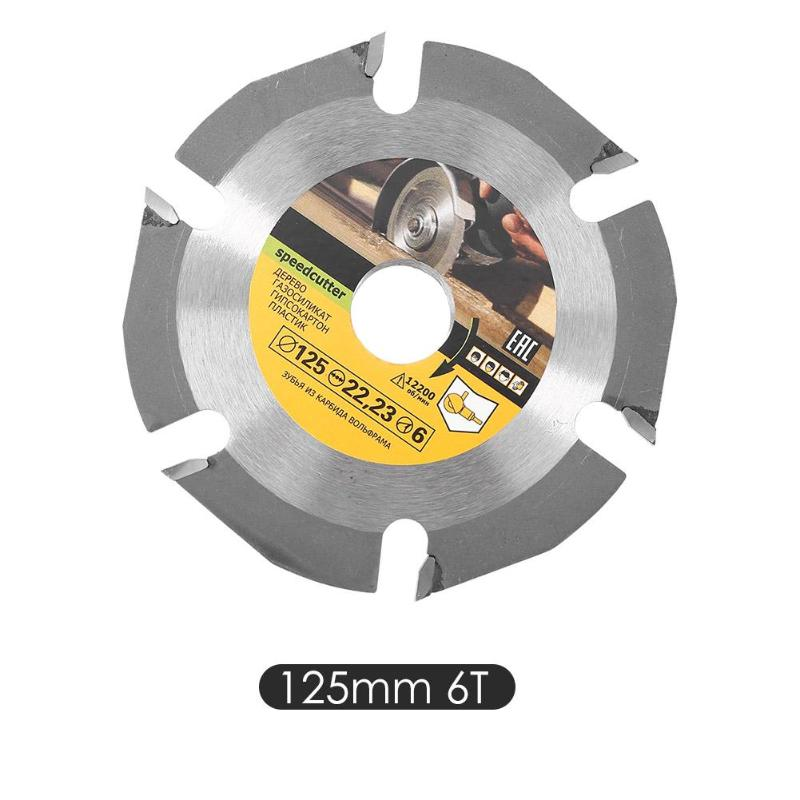 Durable 6 Teeth Circular Saw Blade 125mm Cemented Carbide Tipped Wood Cutting Disc Angle Grinder Wheel Woodworking Tools