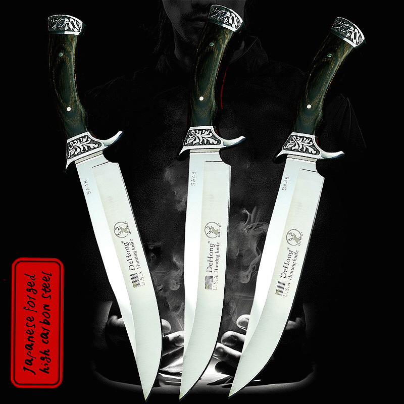 DEHONG         U S A  SA48 high-end  hunting straight blade rescue knife camping straight blade Mirror light  tactical knife