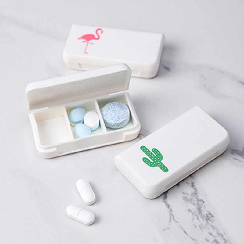1 قطعة 3 المشابك حبة صندوق اللوحي فلامنغو الصبار ورقة Pillbox موزع الطب صناديق الاستغناء الطبية عدة صغيرة المنظم