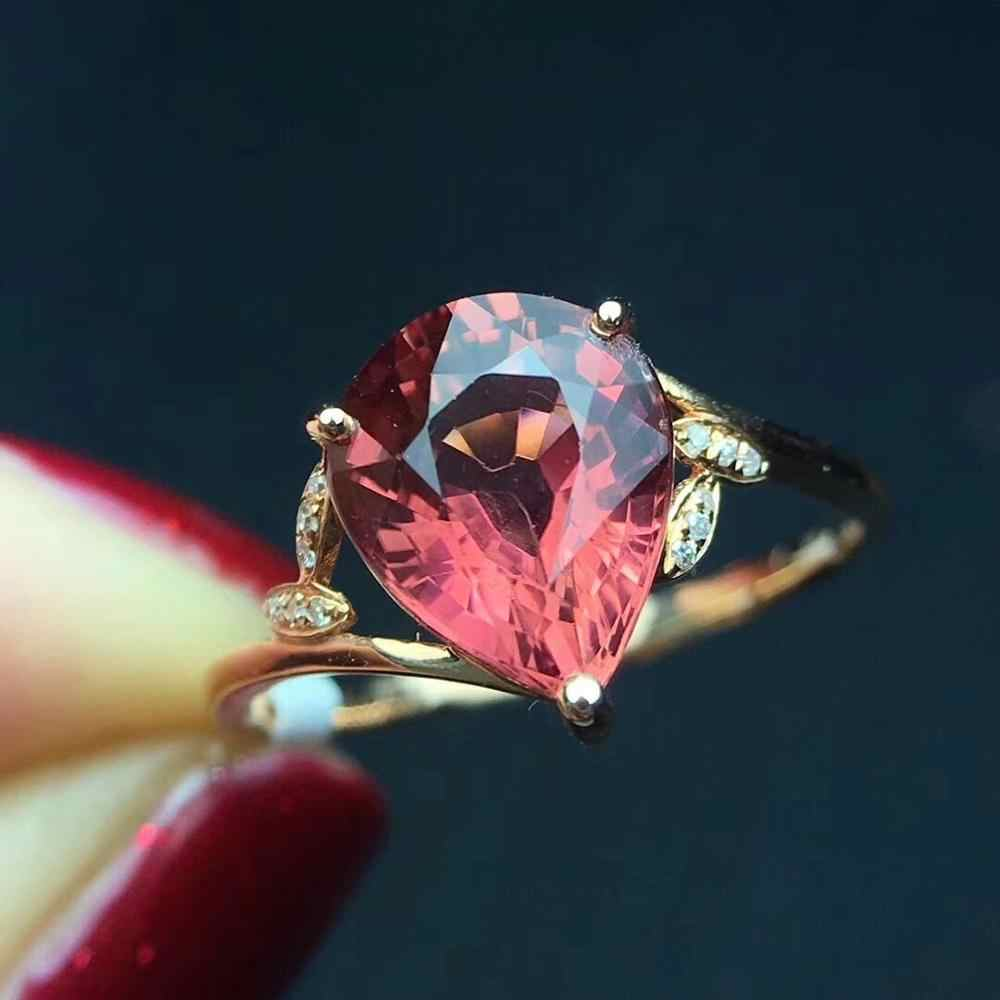 Fine Jewelry Real Pure 18 K Gold AU750 100% Natural Red Tourmaline Gemstone 2.8ct Female Rings Brazil Origin for Women's Gift
