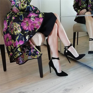 Image 2 - Onlymaker Womens 12CM Pointed Toe Black Double Ankle Strap With Lock High Heel Flock  Pumps Big Size US5~US15