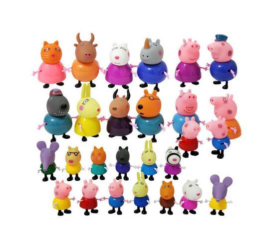 Original Peppa Pig Action Figures Toys Set PVC Anime Peppa George Family Friends Mom Grandma Grandfa Teacher Model Gift For Kids