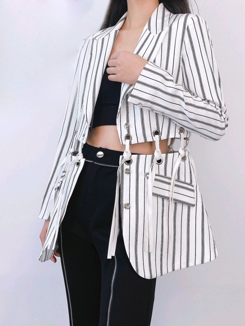 Spring Summer Blazers 2020 High-end Women Suits Blazers Stripes Lace-up Connect Individual Fashion Blazer Coats