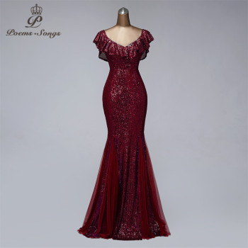 V-neck evening dresses long formal dress women elegant mermaid vestidos de fiesta wine red gowns - discount item  58% OFF Special Occasion Dresses