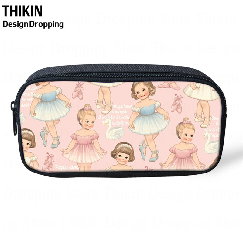 THIKIN Cute Ballet Girl Pattern Cosmetic Cases Pencil Holder For Girls Kids Stationary Bags School Supplies Pencil Bag Gift 2019
