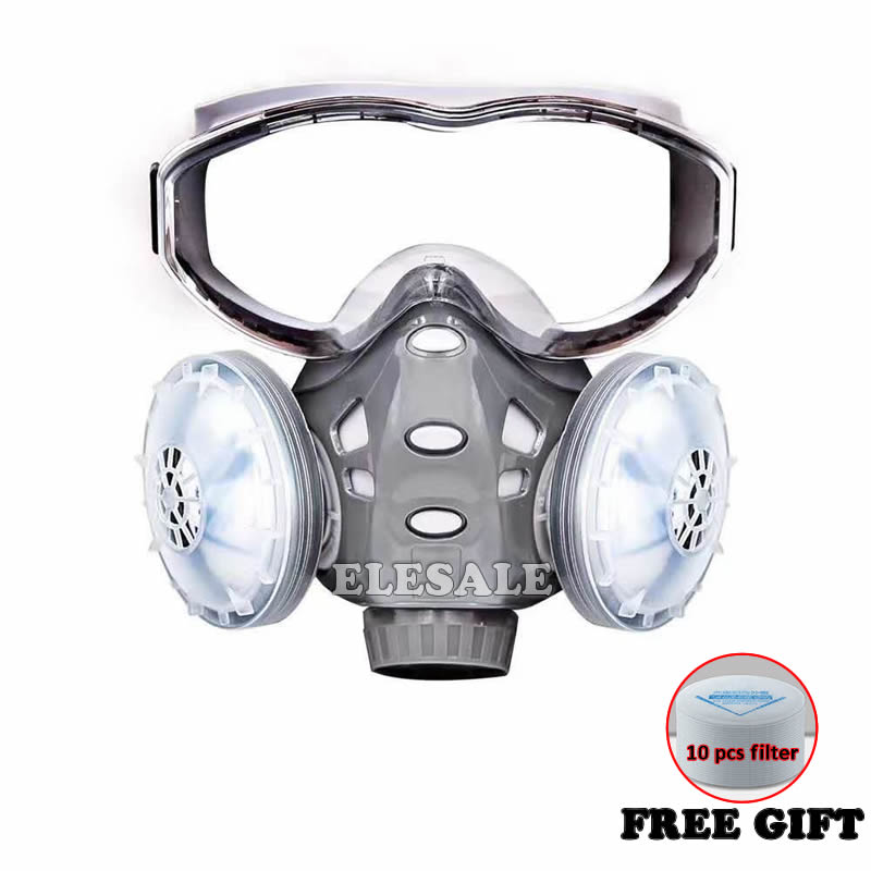 Integral Dust Face Mask Safety Glasses Filters Dust-Proof Respirator Full Protection For Daily Use Industrial Work Safety