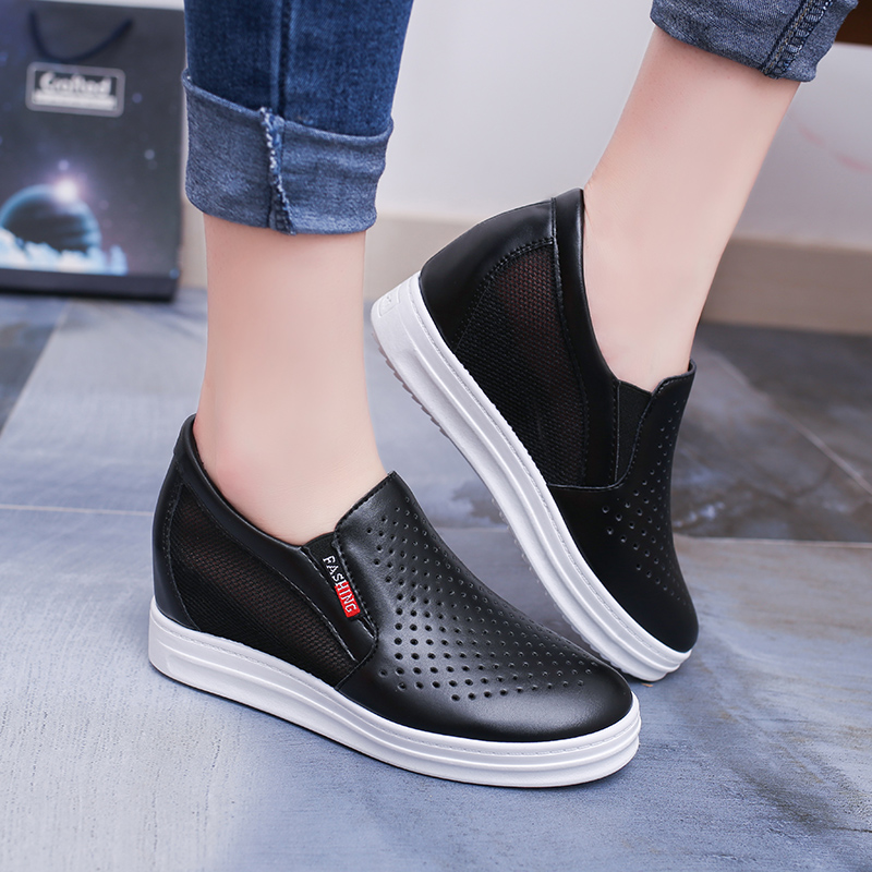 Lucyever New Women's Casual Flats Female Height Increasing Breathable Cut Out Leather Shoes Woman Hidden Wedges Summer Sneaker