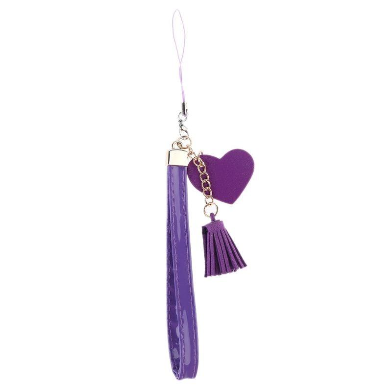Love Heart Tassel Hand Wrist Lanyard Strap String for Mobile Phone Cellphone