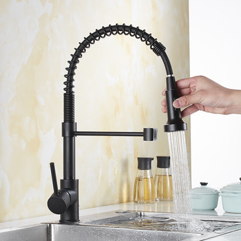 Black Paint Spring Kitchen Faucet Pull out Side Sprayer Dual Spout Single Handle Tap Sink Faucet 360 Rotation Kitchen Faucets quyanre black led orb kitchen faucet pull out sprayer 360 rotation single handle mixer tap sink faucet black rubber faucets
